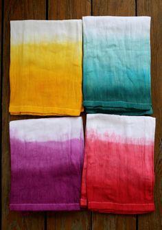 DIY dip-dyed napkins.
