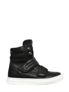 DSQUARED2 - LEATHER HIGH TOP SNEAKERS - BLACK