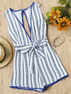 7e0313d5cb9 Deep Plunge Neck Printed Open Back Pom Pom Romper With Belt Trendy Outfits