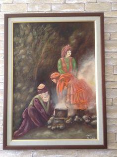 Tuval üzerine yağlıboya resim çalışması