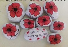 Poppy Craft For Kids, Art For Kids, Crafts For Kids, Remembrance Day Activities, Remembrance Day Poppy, Paper Plate Poppy Craft, Rock Crafts, Arts And Crafts, Anzac Poppy