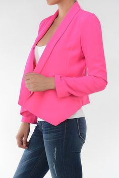 As Good As It Gets Cropped Jacket - Hot Pink