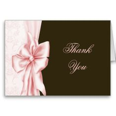 Pink Bow Lace Pink Brown Thank You Cards