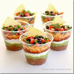 25 Best Holiday Appetizers  CW - 7 layer dip in a cup…of course!!! Keeps it in all 7 layers for each guest to enjoy! Brilliant!