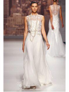 ≪ロサ クララ≫Rosa Clará レーストップをビスチェドレスに重ねたスレンダードレス