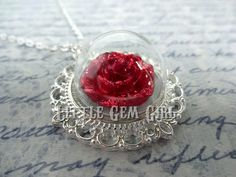 Hey, I found this really awesome Etsy listing at https://www.etsy.com/listing/181566061/enchanted-red-rose-necklace-beauty-and