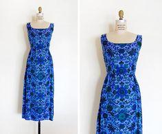 vintage 1960s dress / 1960s silk dress / maxi silk by cutxpaste