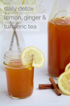 Daily detox lemon, ginger & turmeric tea skip the eye watering shots of apple cider vinegar and start the day with this flavorful and healing lemon, ginger & turmeric detox Smoothie Detox, Detox Tea Diet, Detox Drinks, Cleanse Detox, Juice Cleanse, Detox Juices, Stomach Cleanse, Detox Foods, Health Cleanse