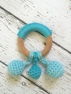 Dew Drop Teething Ring, Maple Wood Teething Ring, All Natural, Baby Toy, Crochet Teething Ring