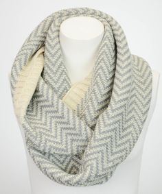Another great find on #zulily! White & Gray Ribbed Chevron Infinity Scarf by Leto Collection #zulilyfinds