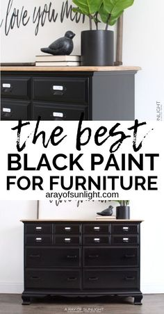 Black is one of the hardest colors to paint furniture!  How to get a super smooth black paint finish on your old thrifted bedroom furniture with General Finishes Enduro Black Poly.  It's so easy (easier than chalk style paint) to DIY this black farmhouse style card catalog look. By A Ray of Sunlight. #paintedfurniture #diyfurniture #painteddresser