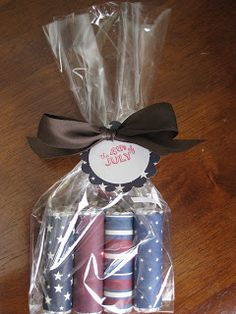 Patriotic scrapbook paper wrapped around lifesavers candy.