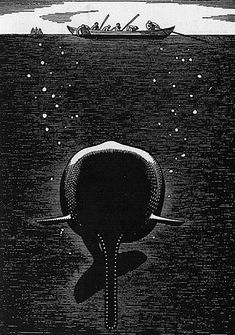 Rockwell Kent (American, Whale Beneath the Sea, Woodcut. Series of 280 woodcut illustrations for Melville's Moby Dick. Rockwell Kent, Norman Rockwell, Melville Moby Dick, Beneath The Sea, Whale Song, White Whale, Wale, Scratchboard, Supernatural
