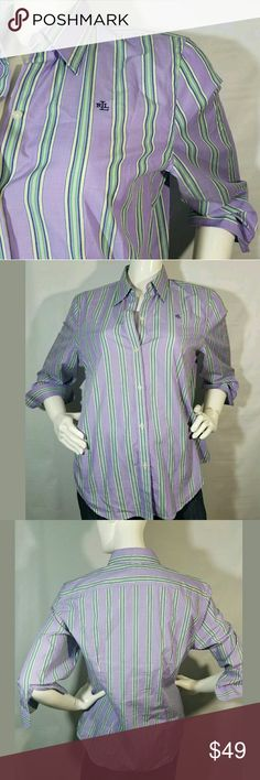 Lauren Ralph Lauren Shirt Large Button Purple Lauren Ralph Lauren Shirt Women's Large Button Shirt Striped Purple Green--- Excellent used condition.  22 inches pit to pit.  27 inches long.    LB Lauren Ralph Lauren Tops Button Down Shirts