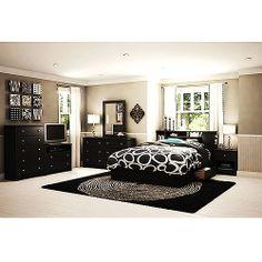 South Shore Vito Queen Bedroom , Black: Furniture : Walmart.com