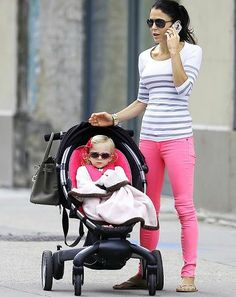 I'm not that big on flip-flops, but I love colored jeans and cute babies are always a bonus.