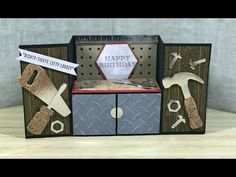 Tool Bench Fold Card All things crafty! I love paper crafting and Card making. Check out my Scrapbooks, Mini Albums and More! Masculine Birthday Cards, Birthday Cards For Men, Masculine Cards, Happy Birthday, Fun Fold Cards, Folded Cards, Box Cards Tutorial, Bridge Card, Boy Cards