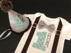 Bowtie Suspenders Birthday Set in Aqua/Brown by FourLittlePearls, $40.00 Onesie