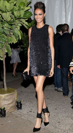 Avoid looking garish when wearing all over sequins by choosing shiny pieces in a modern midnight blue like Joan Smalls — legs for miles not included.
