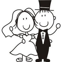 Cartoon Bride and Groom Wall Sticker Wedding Wall Decal Art Doodle Drawings, Doodle Art, Wedding Anniversary Greetings, Wedding Cards, Wedding Day, Bride And Groom Silhouette, Black And White Cartoon, Rock Painting Ideas Easy, Card Sentiments