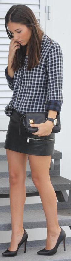 classic look plus an edgy leather skirt