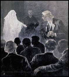 """An image of a ghost at a séance in the May 12, 1888, edition of """"Frank Leslie's Illustrated Newspaper (Via MysteriousPlanchette.com)"""