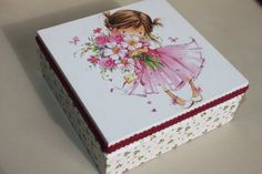 Decoupaged Wooden Jewellery Box Girl with Pink by Jurosihandmade
