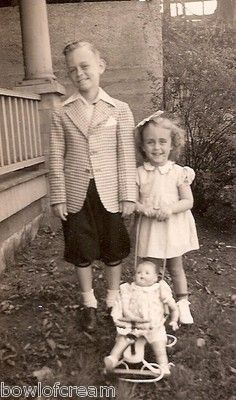 Vintage Snapshot Photo Cute Brother Sister with Doll 1940s 1950s | eBay