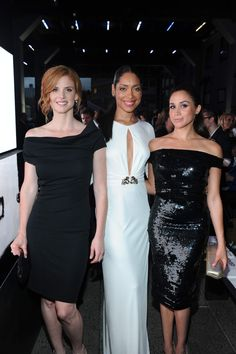 Sarah Rafferty, Gina Torres and Meghan Markle at 'A Suits Story' Fashion Show at the Highline in New York City on Tuesday, June 12, 2012