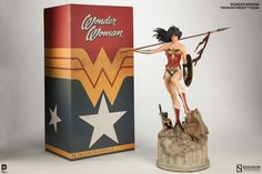 Sideshow's long-awaited Wonder Woman Premium Format™ Figure has arrived, and we can't wait to unleash the Amazon princess into Fan's…er, Man's World.  Get an up close look at the final production, packaging, and exclusive features for this incredible figure!