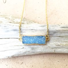 Fiona // Sparkly Blue Rectangle Druzy Necklace, Gold Dipped Jewelry, Gifts under 50, Raw Gemstone necklace, Druzy Jewelry for Women by NesoiCollection on Etsy https://www.etsy.com/listing/225910019/fiona-sparkly-blue-rectangle-druzy
