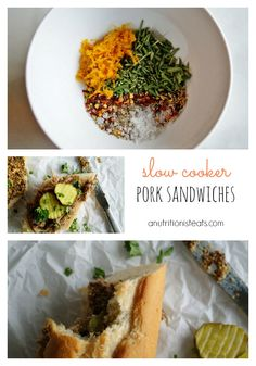 I'm not a huge pork fan, but this was AMAZING!  A nice change of pace from the traditional BBQ Pulled Pork.  Followed the recipe exactly, even the condiment suggestions.  Slow Cooker Pork Sandwiches | anutritionisteats.com