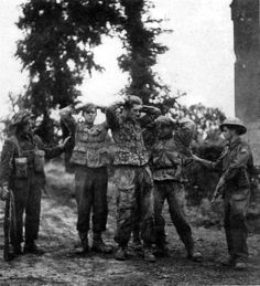 More grenadiers from 12th SS-HJ captured near Capriquet Airfield outside of Caen. The 12th SS-Hj was little more than a blocking force. These prisoners are lucky. For every 4 Canadian or British troops captured by the 12th SS-HJ, 1 was executed after capture. Some 189 allied prisoners were executed after capture by this SS division alone. Despite this the Canadians and British rose above it.