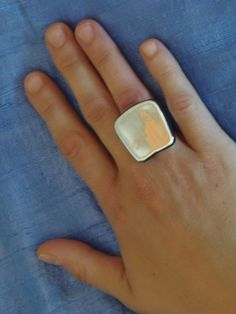 (12) Δαχτυλίδι χάντρα πλακέ ασημένια