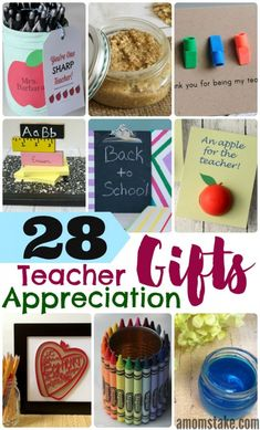 28 Teacher Appreciation Gifts & DIY Ideas - so many awesome ideas that are easy and cheap and so meaningful to gift to your hardworking teachers! Really nice and thoughtful to start off the school year right. Teacher Appreciation Week, Teacher Gifts, Easy Homemade Gifts, Easy Gifts, Inexpensive Christmas Gifts, Holiday Gifts, Back To School Crafts, Kids Gifts, Precious Children