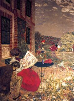 Edouard Vuillard, Woman Reading on a Bench  (1898)  Private collection