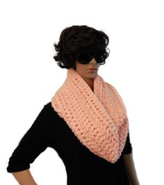 A handmade crochet Extra Long infinity scarf cowl in light pink in 2 Sisters Handmade Exclusive Design using a 5 Star Rated soft, wool blend, thick bulky yarn. Loop Scarf, Circle Scarf, Chunky Infinity Scarves, Long Lights, Crochet Wool, Womens Scarves, Wool Blend, Cowl, Sisters