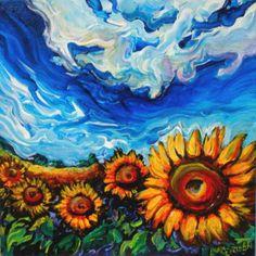 sunflower paintings acrylic | ukraine sunflower field october 2010 acrylic on canvas 10 x