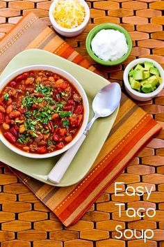 Easy Taco Soup Recipe from A Pinch of Salt Lake [from Kalyn's Kitchen] #LowCarb  #GlutenFree  #SouthBeachDiet