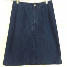"""Talbots Denim Skirt Versatile denim skirt from Talbots. Front button and zip with back slit. Measures approx 20"""" from top of waistband to bottom of hem. Carefully worn - excellent condition. Note: I'm poshing this for my Mom. Her home is & free but does have a . Sorry no trades or PayPal. Thanks for shopping by! Talbots Skirts Pencil"""
