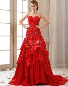 Taffeta A Line Sweetheart Red Tiered Long Bridesmaid Dress