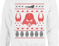 Funny Darth Vader Ugly Christmas Sweater Hoodie Mens Star Wars Darth Vader Shirt Dad Christmas Mens Hooded Crew Neck Long Sleeve Storm Troop
