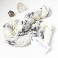If you didn't make it to yesterday's trunk show I still have some ready to ship goodies! These skeins of Typewriter dyed on Allegory (single ply fingering weight) are ready to grow up into a gorgeous shawl. #toilandtroubleyarn #handdyed #knitting