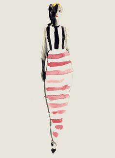 Stripes (Jil Sander by Bernadette Pascua): Illustration Mode, Fashion Illustration Sketches, Watercolor Illustration, Fashion Sketches, Moda Fashion, Fashion Art, Fashion Models, Fashion Design, Sketch Painting