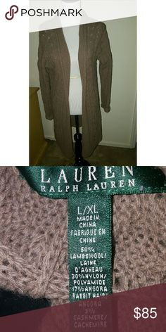 Lauren Ralph Lauren Duster Cardigan Wool Blend Lamb Wool Blend..... See pic 2 for fabric.... One pocket on each side...Feel free to ask any questions.... ✅Make an offer through OFFER button ONLY ✅Negotiations welcome ❌No trades ❌No PayPal ✴Bundles encouraged✴ Lauren Ralph Lauren Sweaters Cardigans