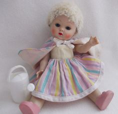 """Vogue Strung Ginny Doll 1952 Caracul Wig in """"Vogue Dolls"""" Wavy Lines Tag Sunsuit #DollswithClothingAccessories"""