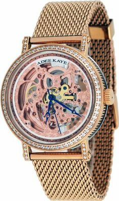 Adee Kaye #AK6463-MRG Men's Rose Gold Tone Mesh Bracelet Skeleton Dial Automatic Bling Watch Adee Kaye. $149.95. Mineral Crystal, Blue Hands, Transparent Case Showing Inner Mechanicals. Water Resistant - 30M, Transparent Case Back. Case Size:  43.25mm Diameter, 13.5mm Thickness. Stainless Steel Case and Band, Regular Conect Type Clasp. 21 Jewels LeBauches 2100 Automatic Movement