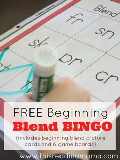 FREE Beginning Blend BINGO~ with 6 game boards and beginning blend picture cards | This Reading Mama