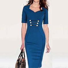 Women's V Neck Bodycom ½ Length Sleeve Dress - MXN $ 321.12