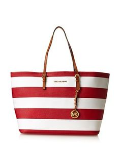16% OFF MICHAEL Michael Kors Women's Striped Saffiano Travel Tote, Red/White